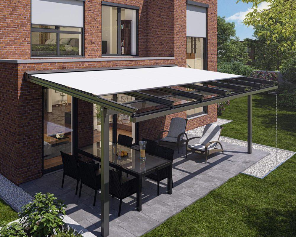 Aluminiumüberdachung Murano Integrale mit Überstand an Haus befestigt