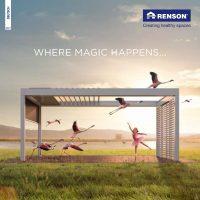 Titelbild der Renson Broschüre mit Kind und Flamingos